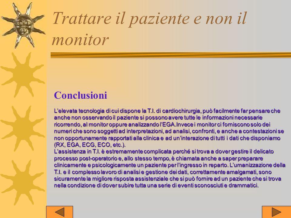 Trattare il paziente e non il monitor Conclusioni Lelevata tecnologia di cui dispone la T.I. di cardiochirurgia, può facilmente far pensare che anche