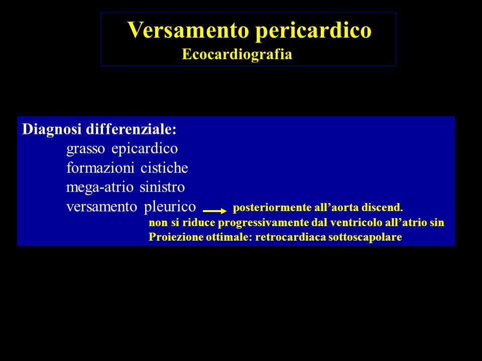 Diagnosi differenziale: grasso epicardico formazioni cistiche mega-atrio sinistro versamento pleurico posteriormente allaorta discend. non si riduce p