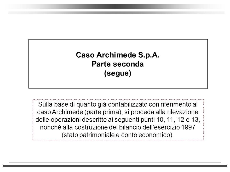 Caso Archimede S.p.A. Parte seconda (segue) Sulla base di quanto già contabilizzato con riferimento al caso Archimede (parte prima), si proceda alla r