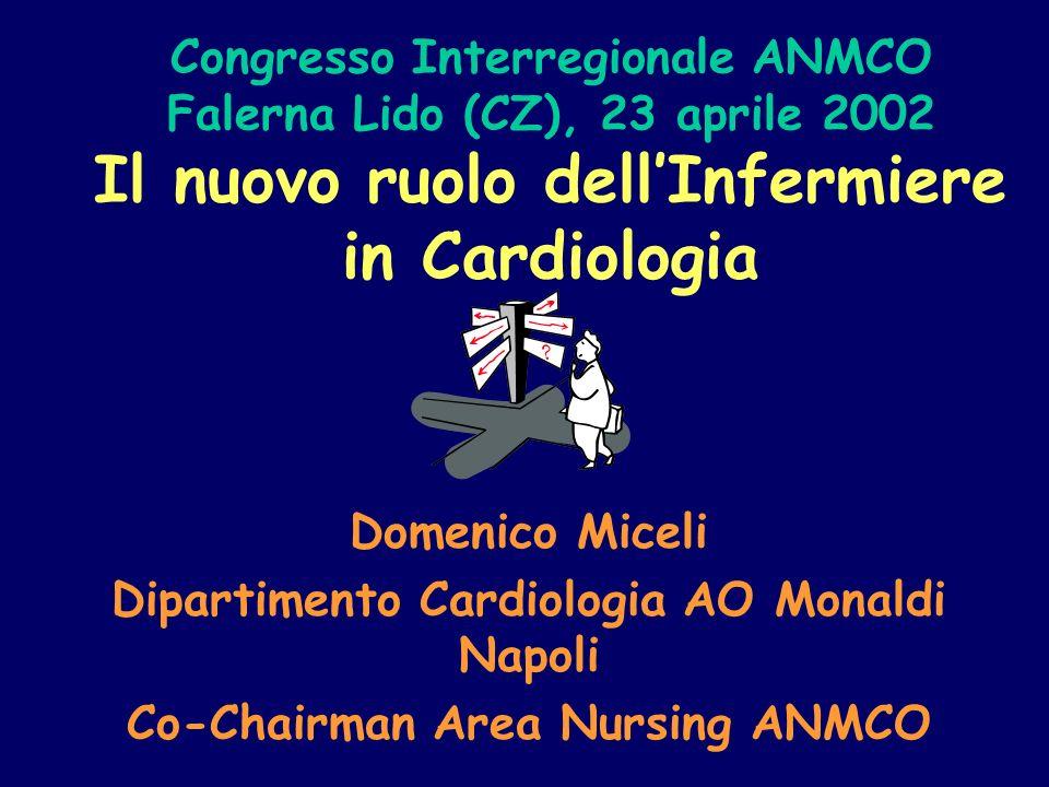 Congresso Interregionale ANMCO Falerna Lido (CZ), 23 aprile 2002 Il nuovo ruolo dellInfermiere in Cardiologia Domenico Miceli Dipartimento Cardiologia