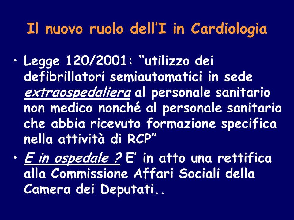 Il nuovo ruolo dellI in Cardiologia Legge 120/2001: utilizzo dei defibrillatori semiautomatici in sede extraospedaliera al personale sanitario non med
