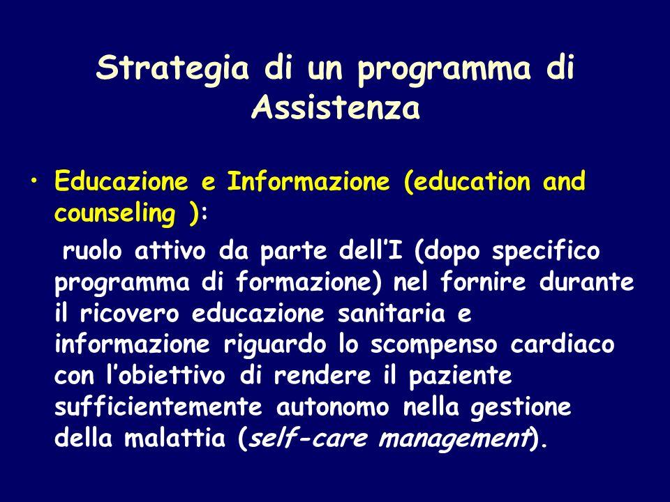 Strategia di un programma di Assistenza Educazione e Informazione (education and counseling ): ruolo attivo da parte dellI (dopo specifico programma d