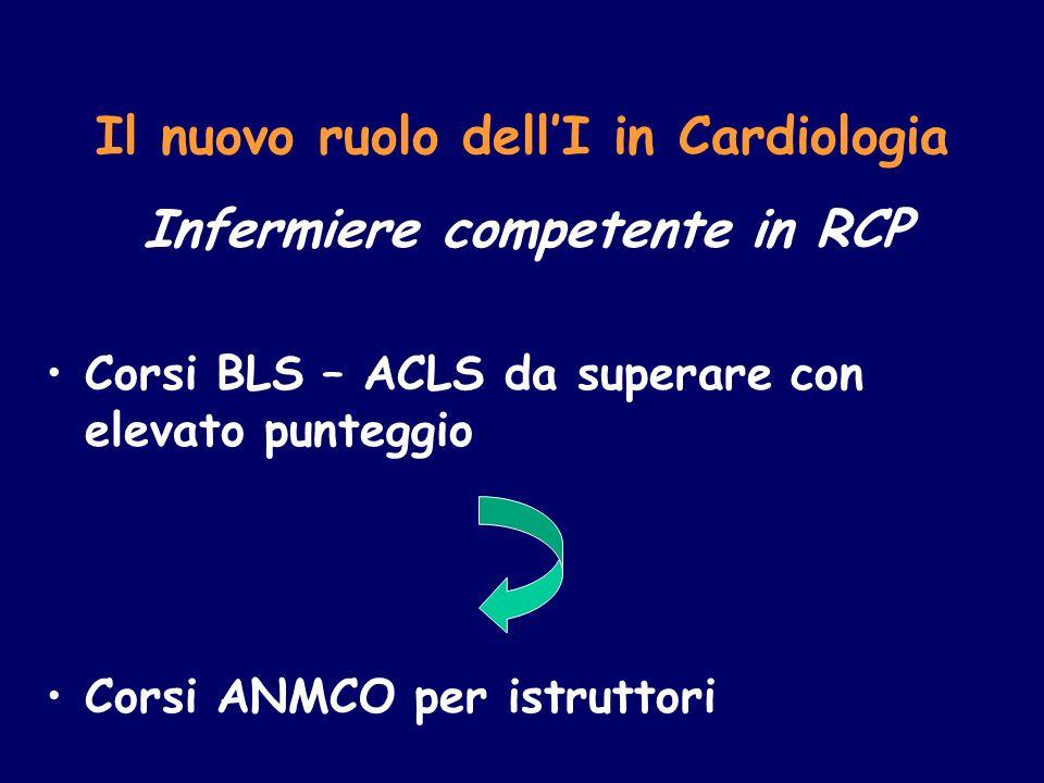 Il nuovo ruolo dellI in Cardiologia Infermiere competente in RCP Corsi BLS – ACLS da superare con elevato punteggio Corsi ANMCO per istruttori