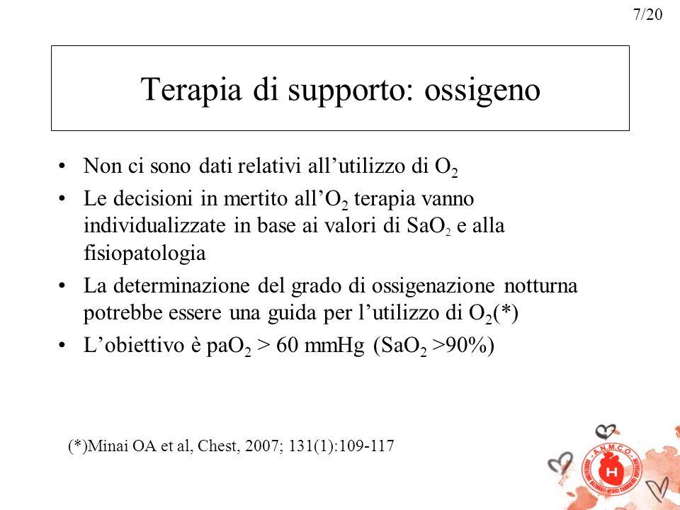 Terapia di supporto: ossigeno Non ci sono dati relativi allutilizzo di O 2 Le decisioni in mertito allO 2 terapia vanno individualizzate in base ai va