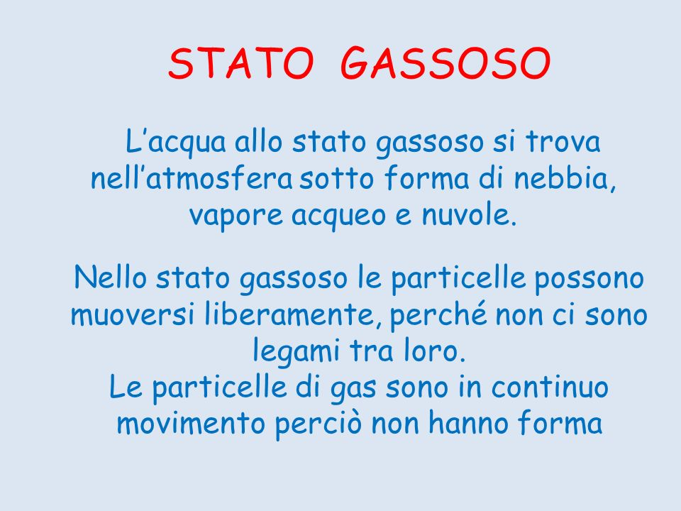STATO GASSOSO Lacqua allo stato gassoso si trova nellatmosfera sotto forma di nebbia, vapore acqueo e nuvole. Nello stato gassoso le particelle posson