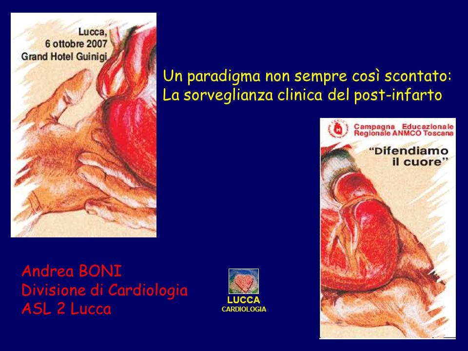 Un paradigma non sempre così scontato: La sorveglianza clinica del post-infarto Andrea BONI Divisione di Cardiologia ASL 2 Lucca LUCCA CARDIOLOGIA