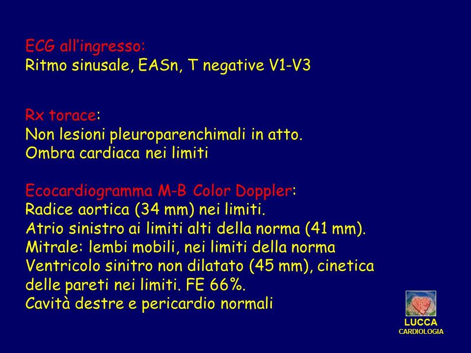ECG allingresso: Ritmo sinusale, EASn, T negative V1-V3 Rx torace: Non lesioni pleuroparenchimali in atto. Ombra cardiaca nei limiti Ecocardiogramma M