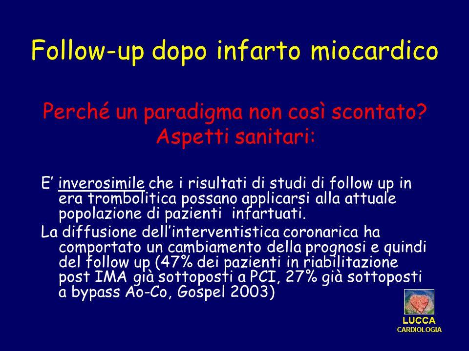 Follow-up dopo infarto miocardico Perché un paradigma non così scontato? Aspetti sanitari: E inverosimile che i risultati di studi di follow up in era