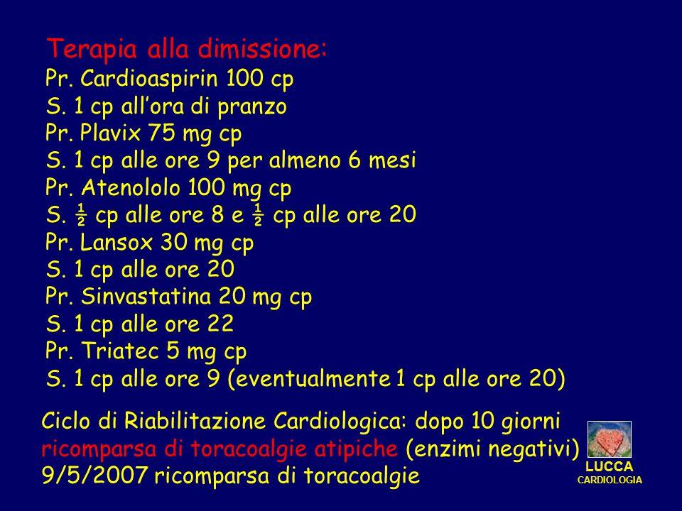 Terapia alla dimissione: Pr. Cardioaspirin 100 cp S. 1 cp allora di pranzo Pr. Plavix 75 mg cp S. 1 cp alle ore 9 per almeno 6 mesi Pr. Atenololo 100