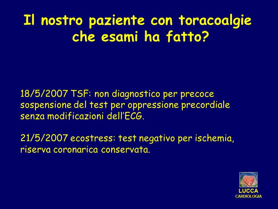 18/5/2007 TSF: non diagnostico per precoce sospensione del test per oppressione precordiale senza modificazioni dellECG. 21/5/2007 ecostress: test neg