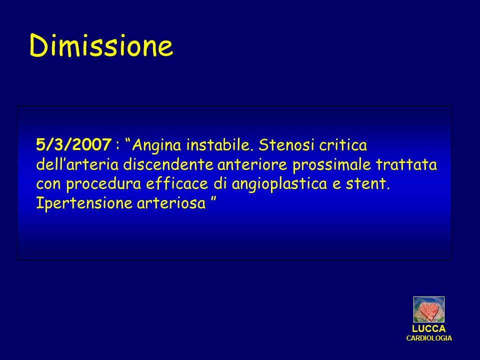 LUCCA CARDIOLOGIA Dimissione 5/3/2007 : Angina instabile. Stenosi critica dellarteria discendente anteriore prossimale trattata con procedura efficace