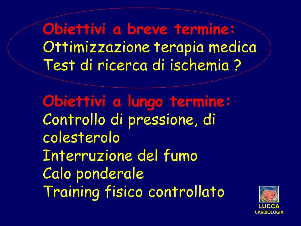 Obiettivi a breve termine: Ottimizzazione terapia medica Test di ricerca di ischemia ? Obiettivi a lungo termine: Controllo di pressione, di colestero