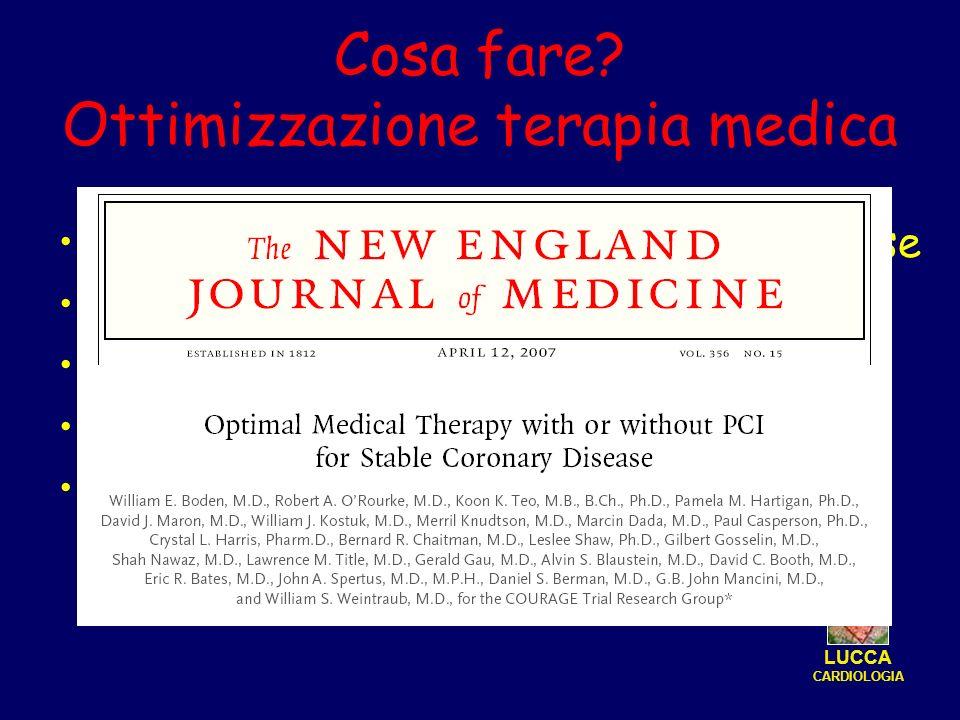 Cosa fare? Ottimizzazione terapia medica Mantenimento di ace-inibitore a alta dose Potenziamento statina Titration del beta-bloccante Inserimento dell