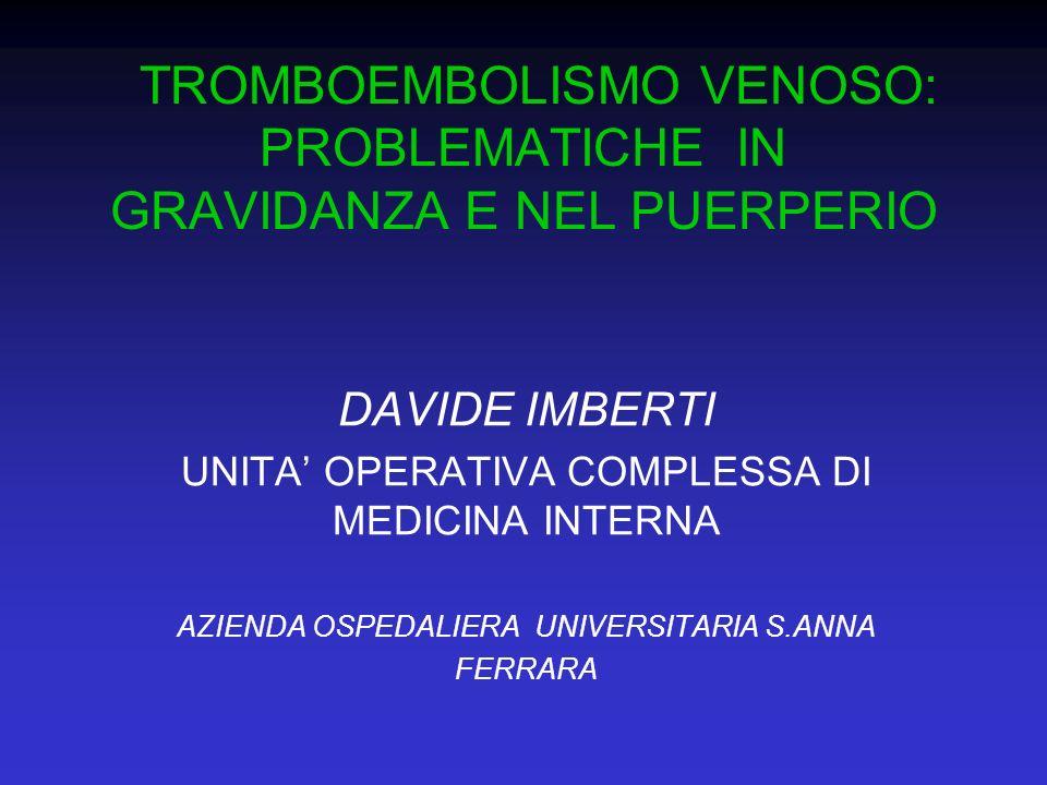 TROMBOEMBOLISMO VENOSO: PROBLEMATICHE IN GRAVIDANZA E NEL PUERPERIO DAVIDE IMBERTI UNITA OPERATIVA COMPLESSA DI MEDICINA INTERNA AZIENDA OSPEDALIERA U