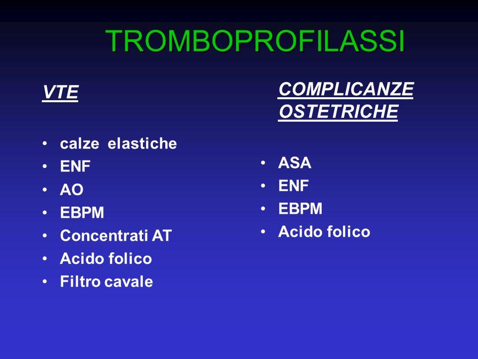 TROMBOPROFILASSI VTE calze elastiche ENF AO EBPM Concentrati AT Acido folico Filtro cavale COMPLICANZE OSTETRICHE ASA ENF EBPM Acido folico