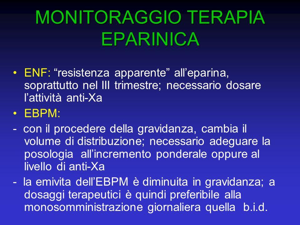 MONITORAGGIO TERAPIA EPARINICA MONITORAGGIO TERAPIA EPARINICA ENF: resistenza apparente alleparina, soprattutto nel III trimestre; necessario dosare l