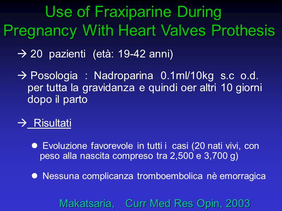 Makatsaria, Curr Med Res Opin, 2003 Makatsaria, Curr Med Res Opin, 2003 à 20 pazienti (età: 19-42 anni) à Posologia : Nadroparina 0.1ml/10kg s.c o.d.