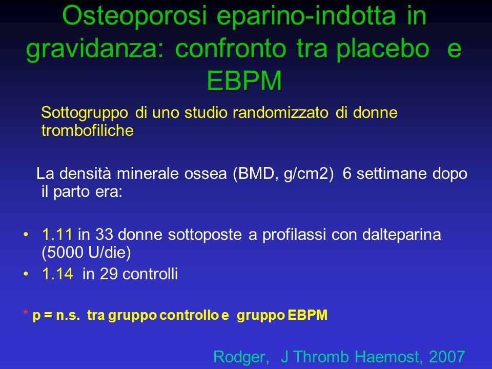 Osteoporosi eparino-indotta in gravidanza: confronto tra placebo e EBPM Sottogruppo di uno studio randomizzato di donne trombofiliche La densità miner
