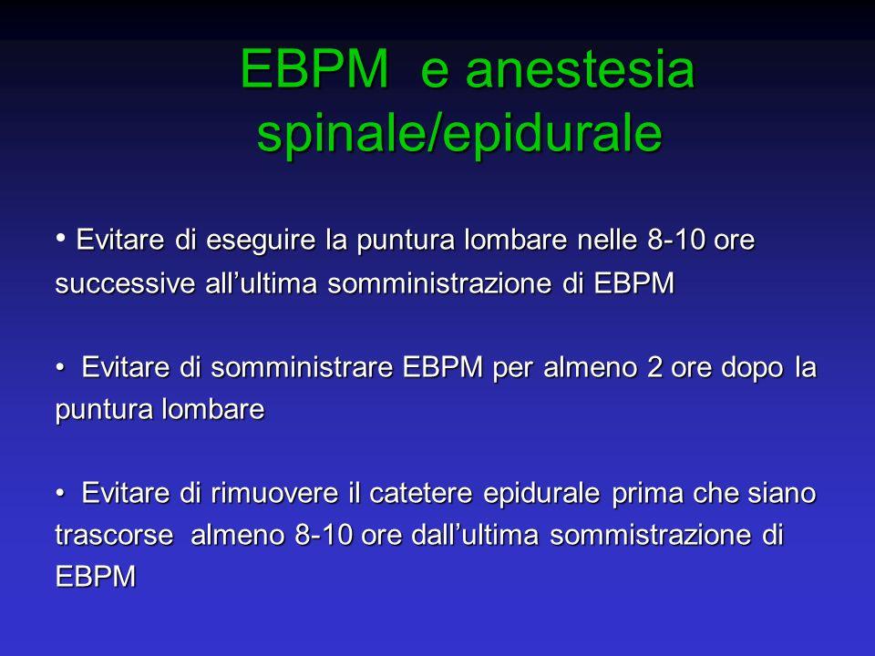 EBPM e anestesia spinale/epidurale EBPM e anestesia spinale/epidurale Evitare di eseguire la puntura lombare nelle 8-10 ore successive allultima sommi