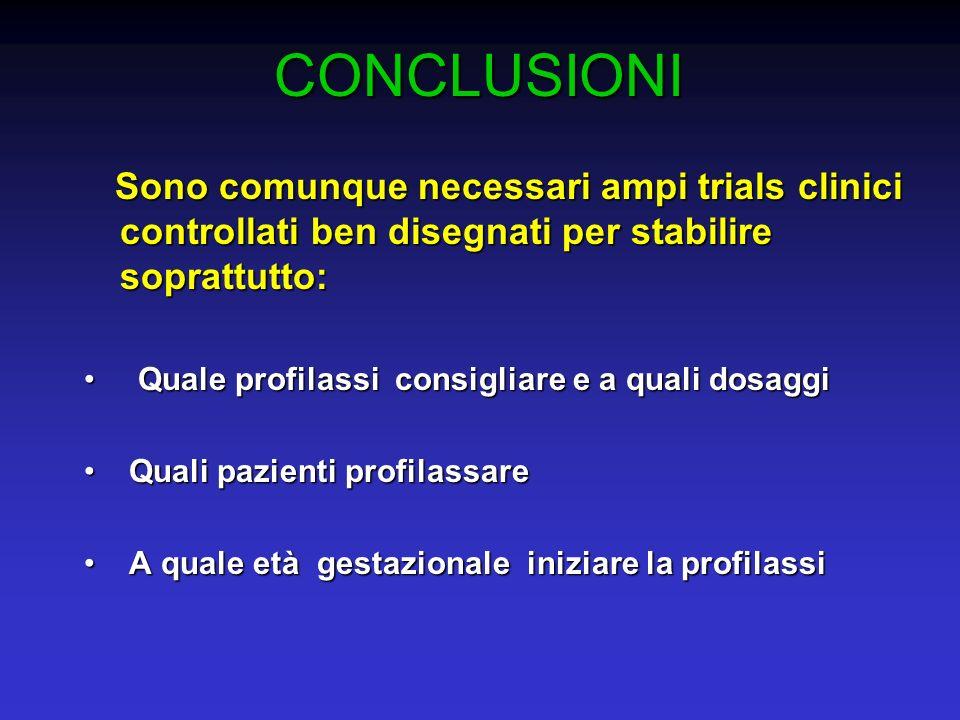 CONCLUSIONI Sono comunque necessari ampi trials clinici controllati ben disegnati per stabilire soprattutto: Sono comunque necessari ampi trials clini