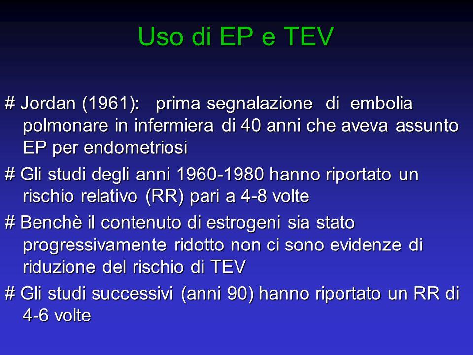 Uso di EP e TEV # Jordan (1961): prima segnalazione di embolia polmonare in infermiera di 40 anni che aveva assunto EP per endometriosi # Gli studi de