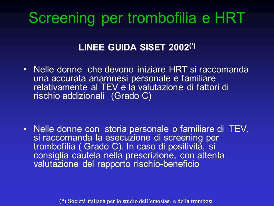 Screening per trombofilia e HRT LINEE GUIDA SISET 2002 (*) Nelle donne che devono iniziare HRT si raccomanda una accurata anamnesi personale e familia