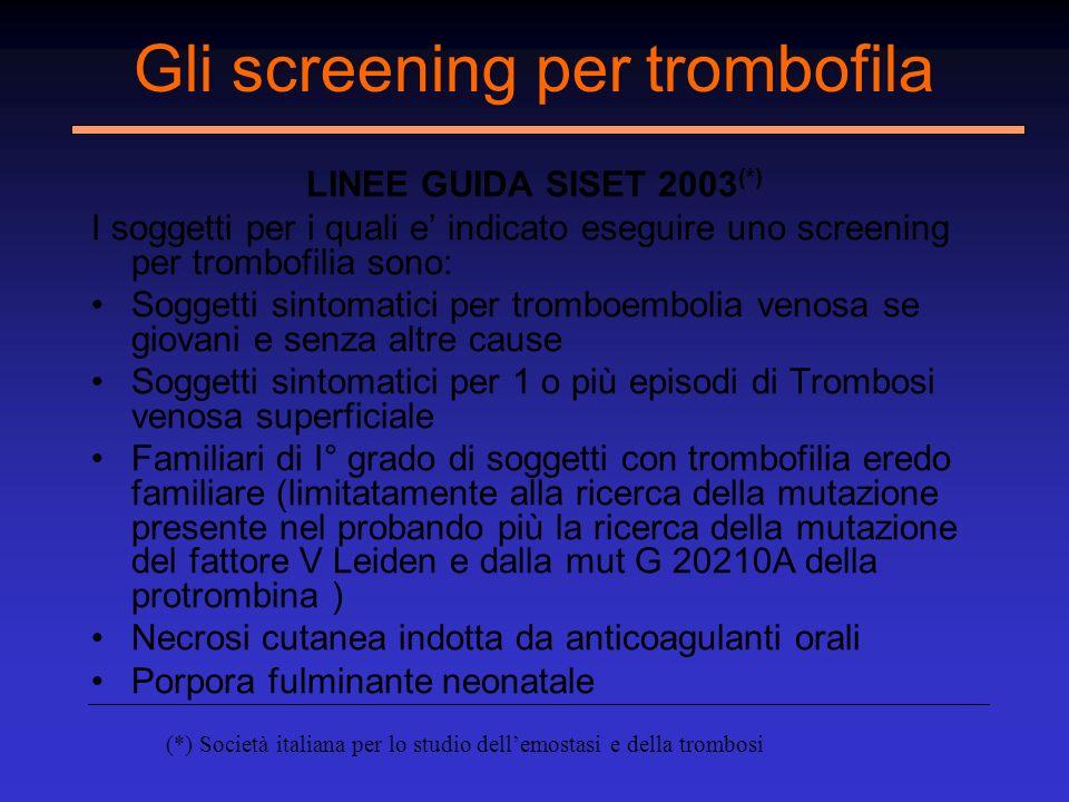 Gli screening per trombofila LINEE GUIDA SISET 2003 (*) I soggetti per i quali e indicato eseguire uno screening per trombofilia sono: Soggetti sintom