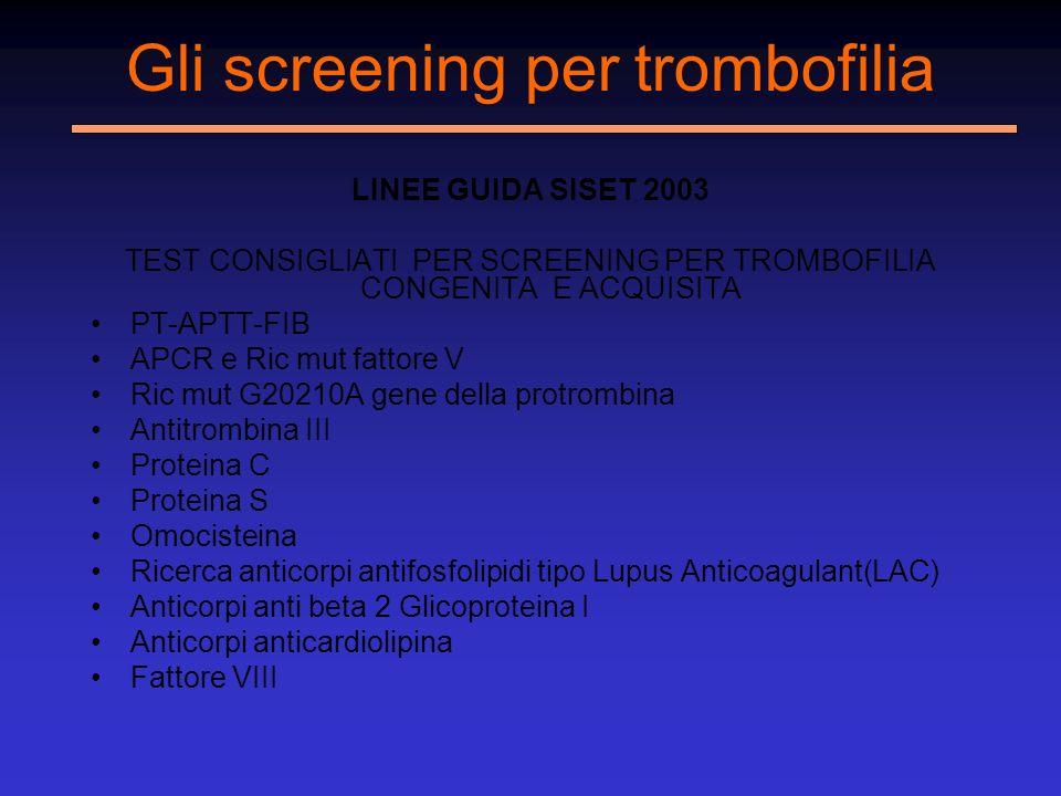 Gli screening per trombofilia LINEE GUIDA SISET 2003 TEST CONSIGLIATI PER SCREENING PER TROMBOFILIA CONGENITA E ACQUISITA PT-APTT-FIB APCR e Ric mut f