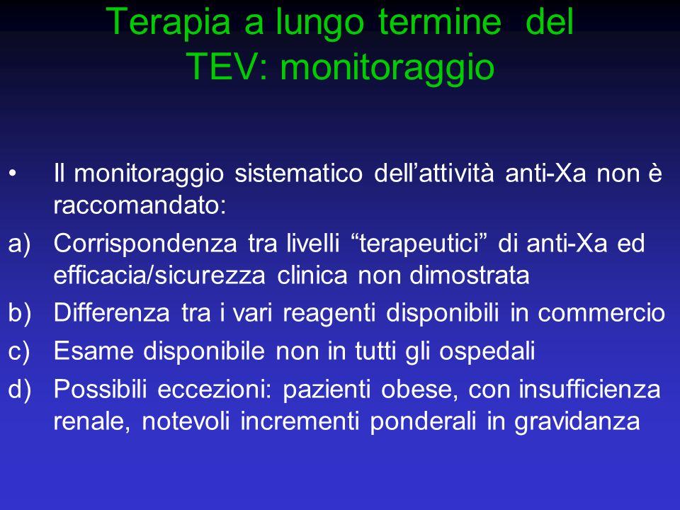 Terapia a lungo termine del TEV: monitoraggio Il monitoraggio sistematico dellattività anti-Xa non è raccomandato: a)Corrispondenza tra livelli terape