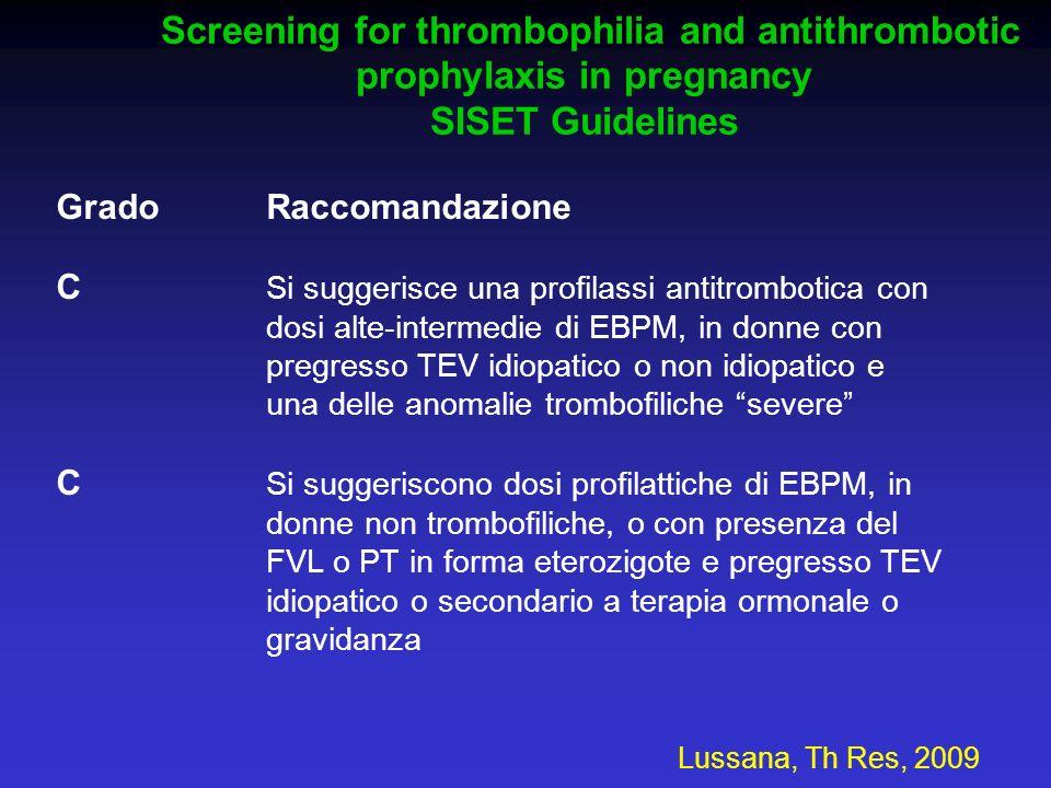 Grado Raccomandazione C Si suggerisce una profilassi antitrombotica con dosi alte-intermedie di EBPM, in donne con pregresso TEV idiopatico o non idio