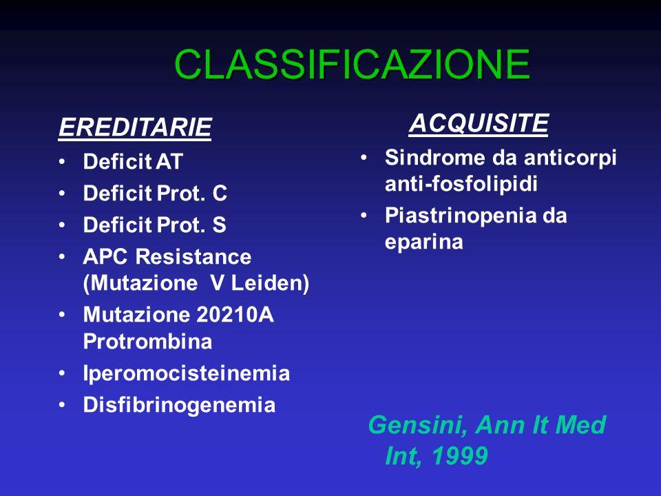 CLASSIFICAZIONE EREDITARIE Deficit AT Deficit Prot. C Deficit Prot. S APC Resistance (Mutazione V Leiden) Mutazione 20210A Protrombina Iperomocisteine