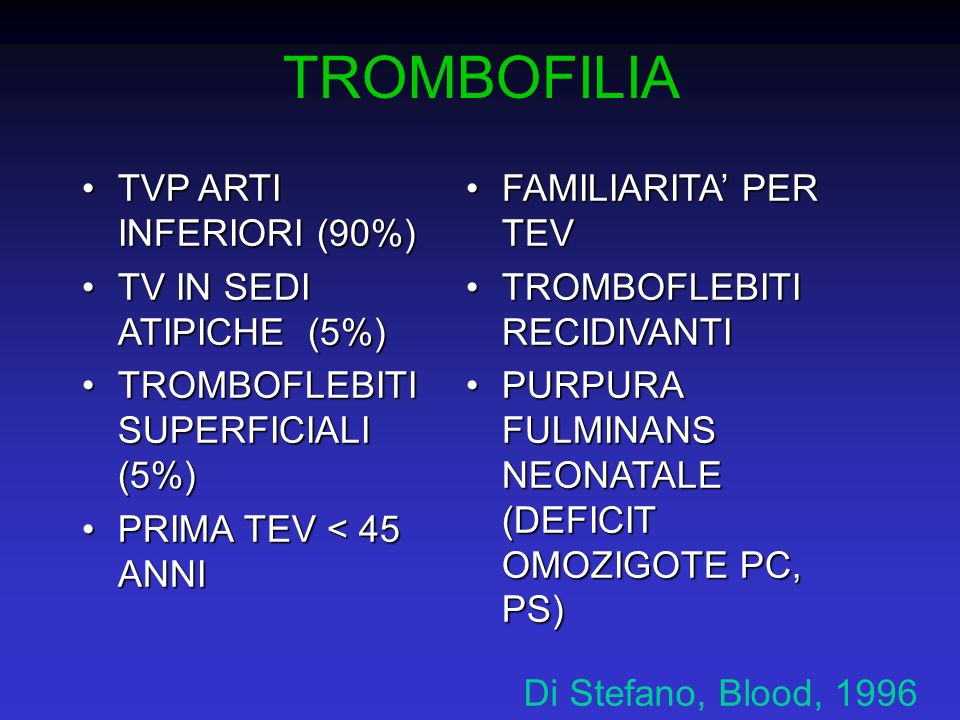 TROMBOFILIA TVP ARTI INFERIORI (90%)TVP ARTI INFERIORI (90%) TV IN SEDI ATIPICHE (5%)TV IN SEDI ATIPICHE (5%) TROMBOFLEBITI SUPERFICIALI (5%)TROMBOFLE
