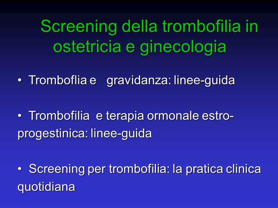 Per evitare una morte da Embolia Polmonare dovremmo sottoporre a screening oltre 2 milioni di donne e sconsigliare lEP a circa 90.000 di esse Per evitare una morte da Embolia Polmonare dovremmo sottoporre a screening oltre 2 milioni di donne e sconsigliare lEP a circa 90.000 di esse Vandenbroucke, Br Med J, 1994 Vandenbroucke, Br Med J, 1994 Lassenza di un difetto biochimico o genetico non elimina il rischio di trombosi Lassenza di un difetto biochimico o genetico non elimina il rischio di trombosi Costi elevatissimi Costi elevatissimi MOTIVI PER NON ESEGUIRE UNO SCREENING DI TROMBOFILIA SISTEMATICO