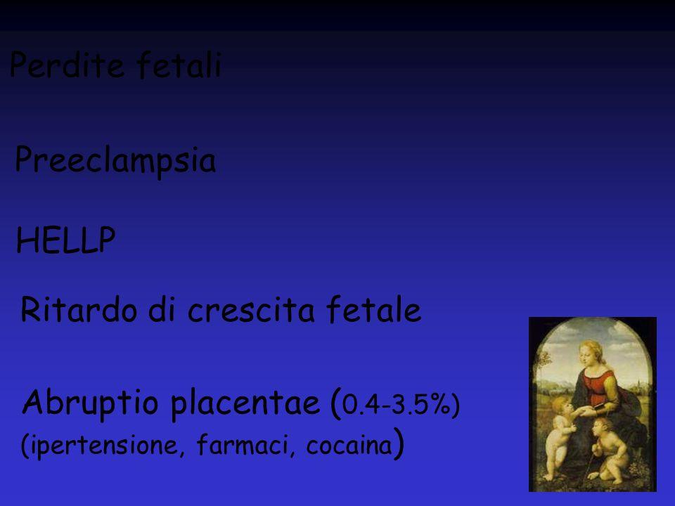 Perdite fetali Preeclampsia HELLP Ritardo di crescita fetale Abruptio placentae ( 0.4-3.5%) (ipertensione, farmaci, cocaina )