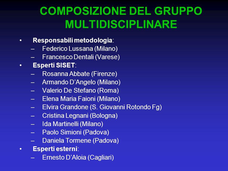 Responsabili metodologia: –Federico Lussana (Milano) –Francesco Dentali (Varese) Esperti SISET: –Rosanna Abbate (Firenze) –Armando DAngelo (Milano) –V
