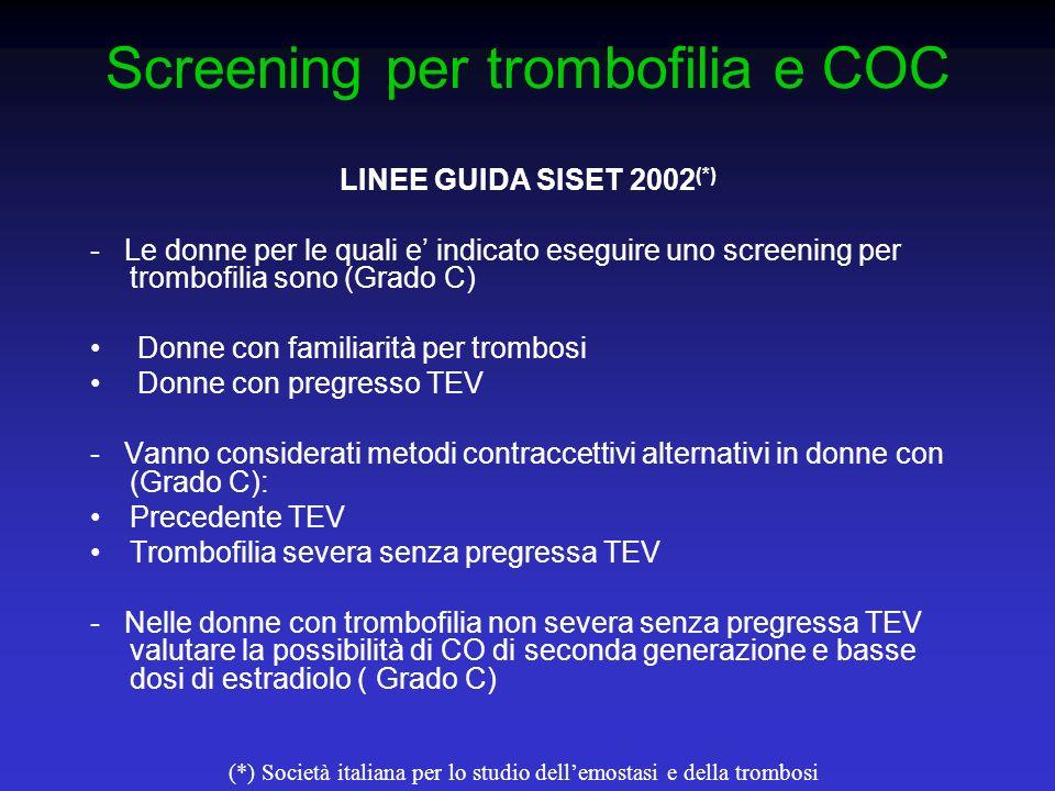Screening per trombofilia e COC LINEE GUIDA SISET 2002 (*) - Le donne per le quali e indicato eseguire uno screening per trombofilia sono (Grado C) Do