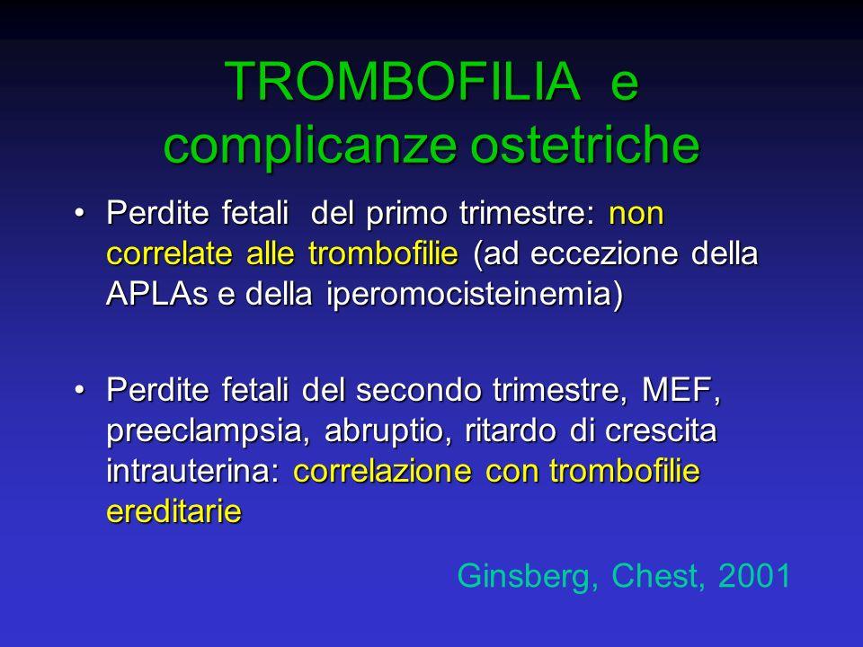 TROMBOFILIA e complicanze ostetriche Perdite fetali del primo trimestre: non correlate alle trombofilie (ad eccezione della APLAs e della iperomociste