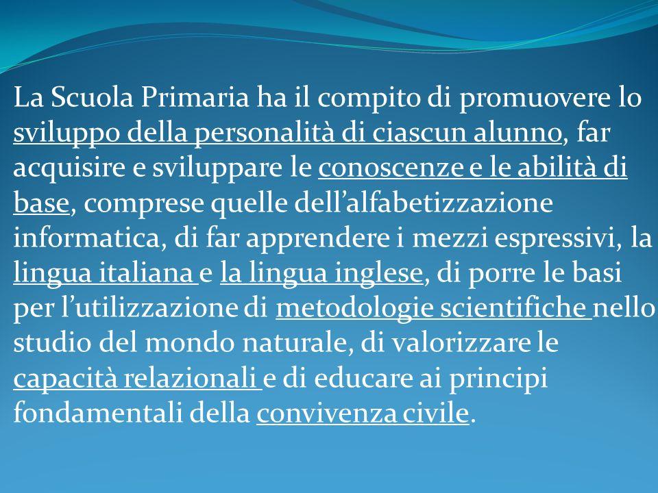 La Scuola Primaria ha il compito di promuovere lo sviluppo della personalità di ciascun alunno, far acquisire e sviluppare le conoscenze e le abilità