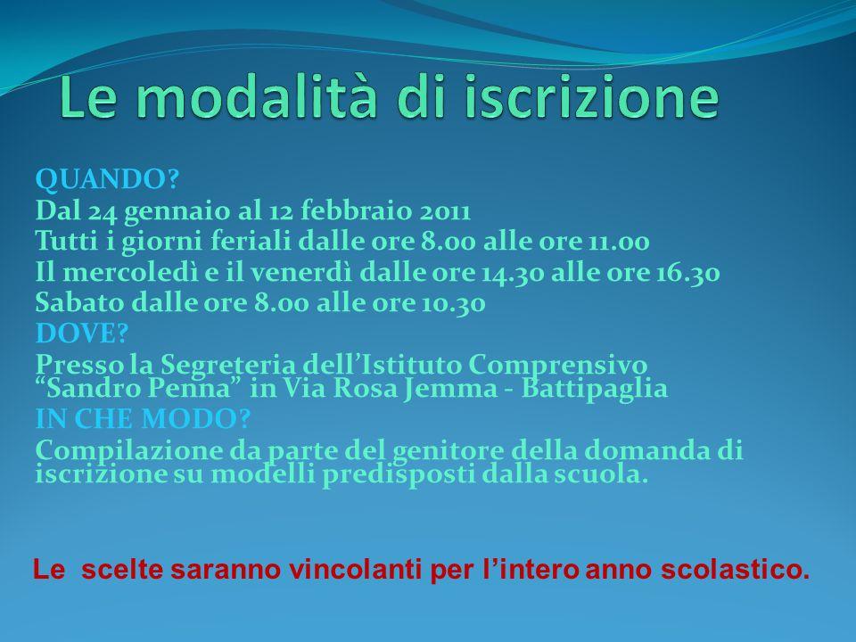 QUANDO? Dal 24 gennaio al 12 febbraio 2011 Tutti i giorni feriali dalle ore 8.00 alle ore 11.00 Il mercoledì e il venerdì dalle ore 14.30 alle ore 16.