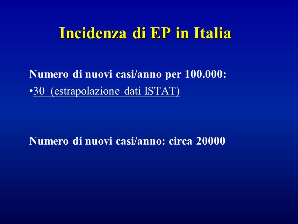 Incidenza di EP in Italia Numero di nuovi casi/anno per 100.000: 30 (estrapolazione dati ISTAT) Numero di nuovi casi/anno: circa 20000