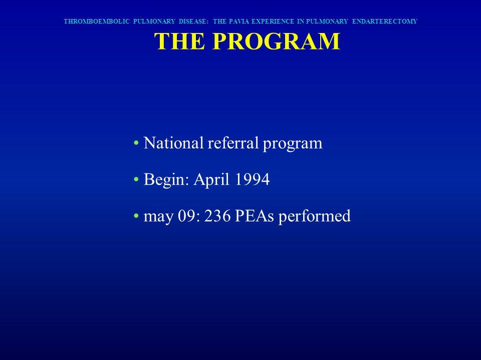 National referral program Begin: April 1994 may 09: 236 PEAs performed THROMBOEMBOLIC PULMONARY DISEASE: THE PAVIA EXPERIENCE IN PULMONARY ENDARTERECT