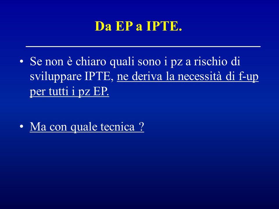 Se non è chiaro quali sono i pz a rischio di sviluppare IPTE, ne deriva la necessità di f-up per tutti i pz EP. Ma con quale tecnica ? Da EP a IPTE.