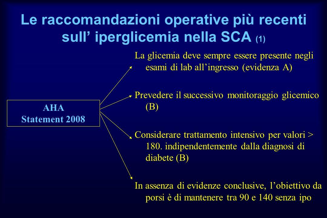 Le raccomandazioni operative più recenti sull iperglicemia nella SCA (1) La glicemia deve sempre essere presente negli esami di lab allingresso (evide