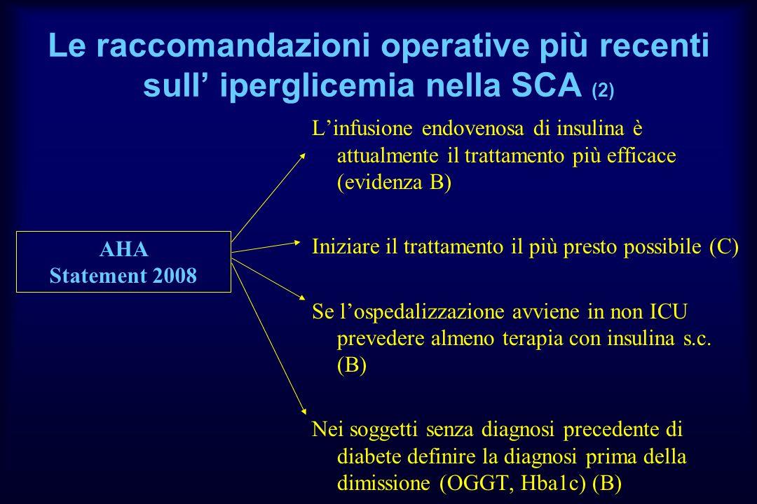 Le raccomandazioni operative più recenti sull iperglicemia nella SCA (2) Linfusione endovenosa di insulina è attualmente il trattamento più efficace (