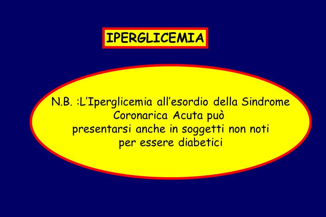 N.B. :LIperglicemia allesordio della Sindrome Coronarica Acuta può presentarsi anche in soggetti non noti per essere diabetici IPERGLICEMIA
