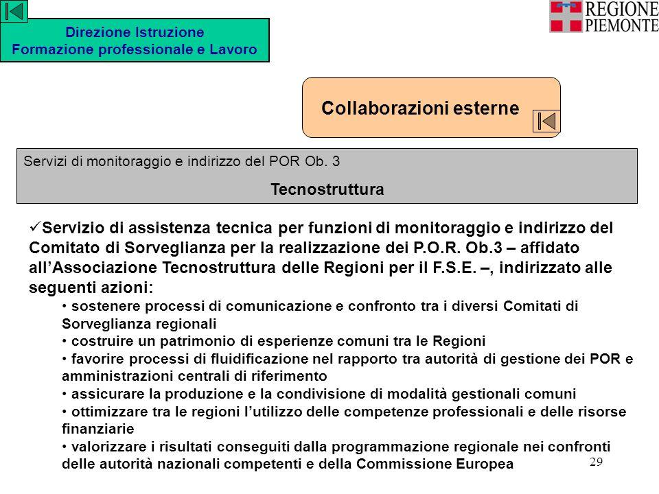 29 Direzione Istruzione Formazione professionale e Lavoro Servizi di monitoraggio e indirizzo del POR Ob.