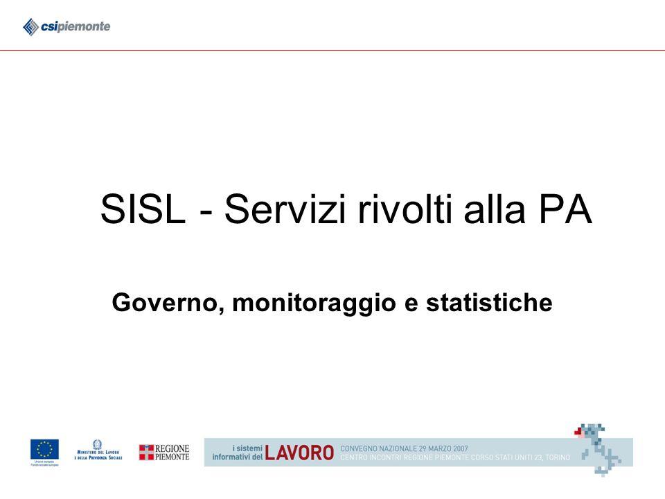 SISL - Servizi rivolti alla PA Governo, monitoraggio e statistiche
