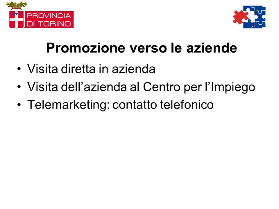 Promozione verso le aziende Visita diretta in azienda Visita dellazienda al Centro per lImpiego Telemarketing: contatto telefonico