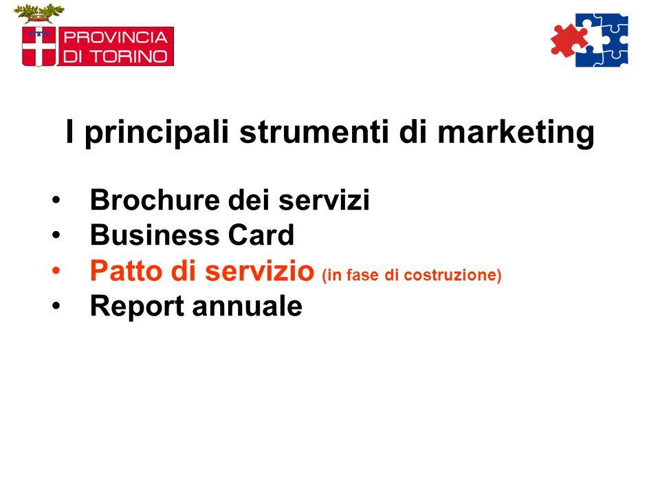 I principali strumenti di marketing Brochure dei servizi Business Card Patto di servizio (in fase di costruzione) Report annuale