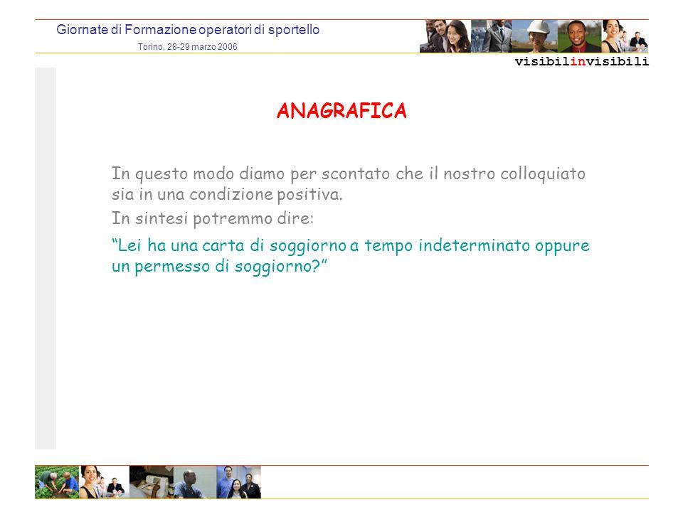 visibilinvisibili Giornate di Formazione operatori di sportello Torino, 28-29 marzo 2006 ANAGRAFICA In questo modo diamo per scontato che il nostro colloquiato sia in una condizione positiva.